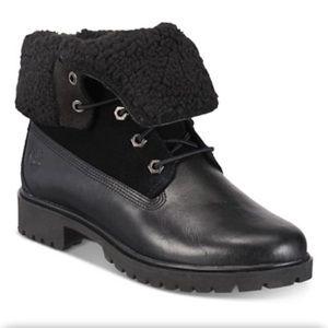 Timberland Black Teddy Fleece Fold Down Boots